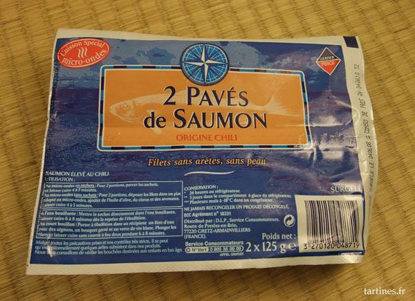 2 pavés de saumon surgelés