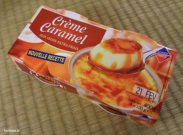 Emballage en carton des crèmes caramel Leader Price