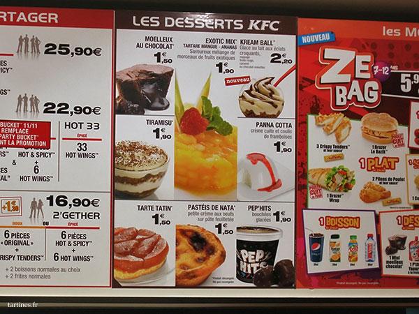 Desserts du menu KFC, avec le pastel de nata en bas