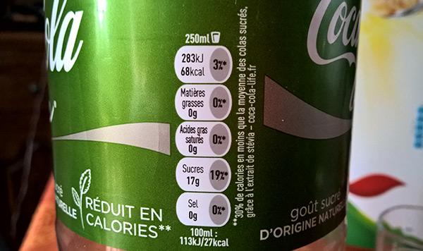 valeur nutritionnelles du Coca-Cola Life